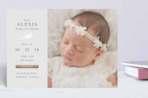 Rattle and Stats Foil-Pressed Birth Announcements