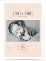 Custard Foil-Pressed Birth Announcement Cards