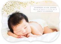 Golden Breath Foil-Pressed Birth Announcement Cards