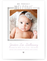 Golden Heart Foil-Pressed Birth Announcement Cards