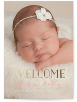 Gold Welcome Foil-Pressed Birth Announcements