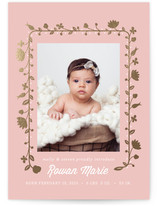 Foil Floral Wreath Foil-Pressed Birth Announcement Cards