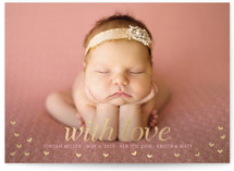 With Love Foil-Pressed Birth Announcement Cards