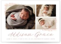 Delicate Collage Foil-Pressed Birth Announcements