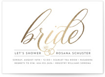 Golden Bride Foil-Pressed Bridal Shower Invitations