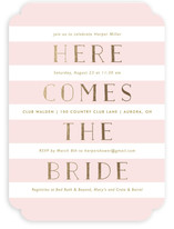 Here She Comes Foil-Pressed Bridal Shower Invitations