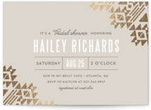 Metal and Spirit Foil-Pressed Bridal Shower Invitations
