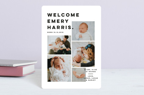 Bold Grid. Birth Announcement Petite Cards