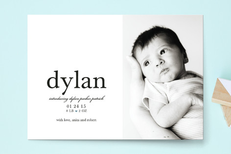 float + tiny heart Birth Announcement Postcards