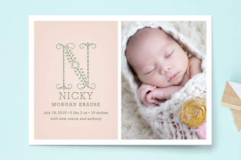 Initial Birth Announcement Postcards