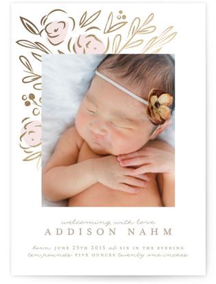 Floral Burst Birth Announcement Postcards