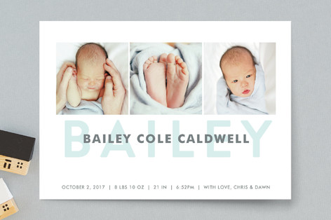 Bold Name Birth Announcement Postcards