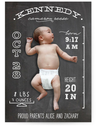 Chalkboard Stats Birth Announcement Postcards