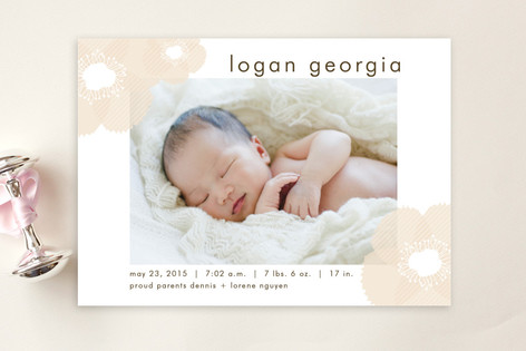 Soft Petals Birth Announcement Postcards