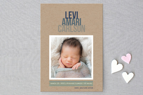 Ombre Kraft Birth Announcement Postcards