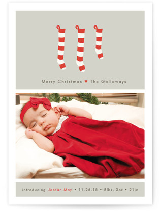 A New Stocking Birth Announcement Postcards