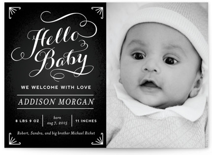 Chalkboard Greetings Birth Announcement Postcards
