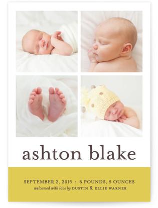 Classic Color Block Birth Announcement Postcards