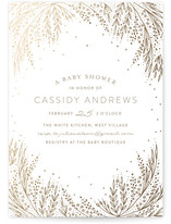Botanical Filigree Foil-Pressed Baby Shower Invitations