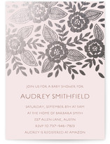 Copper Flowers Foil-Pressed Baby Shower Invitations