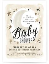 Moonlit Foil-Pressed Baby Shower Invitations