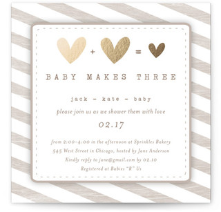 Baby Makes Three Foil-Pressed Baby Shower Invitations