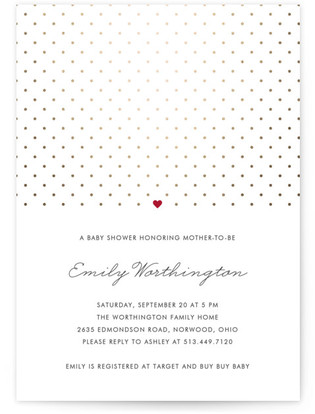 Polka Dot Foil-Pressed Baby Shower Invitations