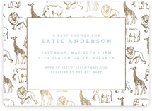 Animal Parade Foil-Pressed Baby Shower Invitations