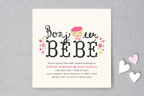 Bonjour Bebe Baby Shower Invitations