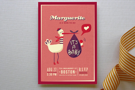 Stylish Stork and Funky Baby Baby Shower Invitations