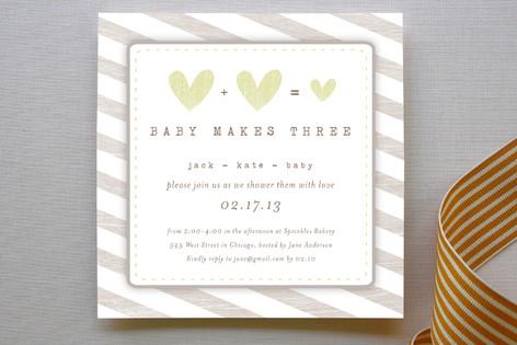 Baby Makes Three Baby Shower Invitations