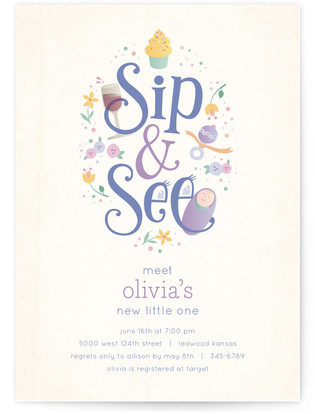 Sweet Sip & See Baby Shower Invitations