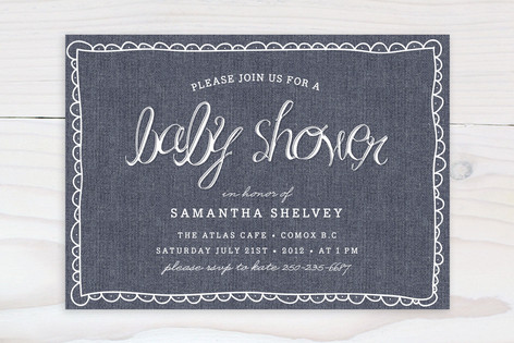 Blue Jean Baby Shower Invitations