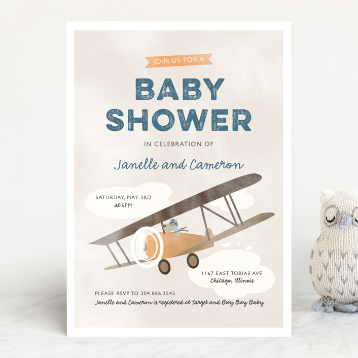 pilot baby baby shower invitations by bethany ande minted