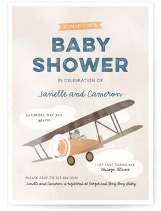 Pilot Baby Baby Shower Invitations