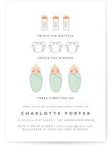 Triple the Joy Baby Shower Invitations
