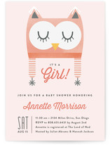 Baby Owl Bonnet Baby Shower Invitations