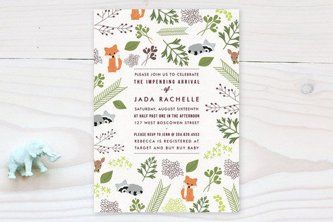 Woodland Arrival Baby Shower Invitations