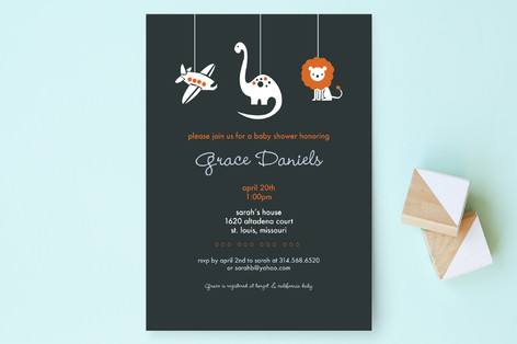 Planes, Dinos, & Lions Baby Shower Invitations