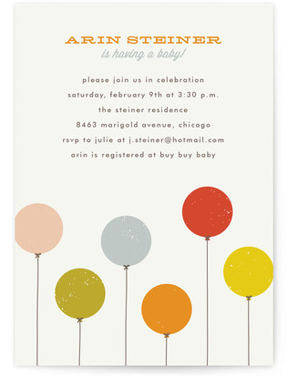 Colorful Balloons Baby Shower Invitations