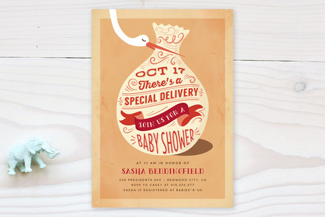 Creme Delivery Baby Shower Invitations