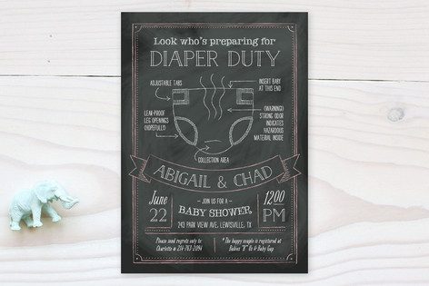 Diaper Duty Baby Shower Invitations