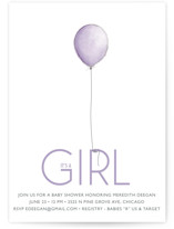 Girl Balloon Baby Shower Invitations