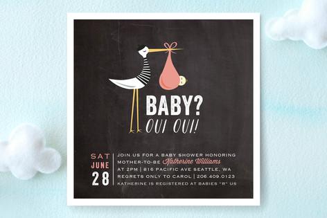 Bonjour French Stork Baby Shower Invitations