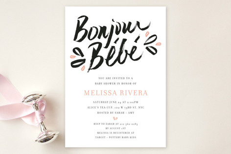 Petite Frenchie Baby Shower Invitations
