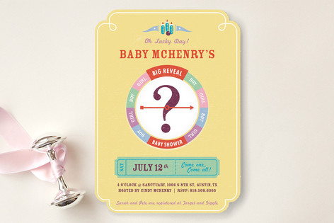 Lucky Day Big Reveal Baby Shower Invitations