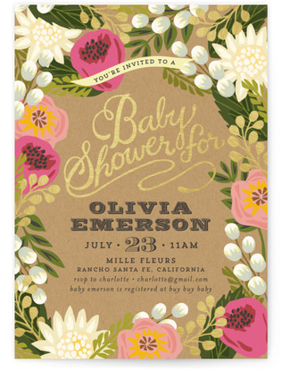 Floral Canopy Baby Shower Invitations