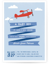 Airplane News Stream Baby Shower Invitations