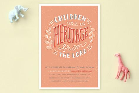 Hand-Drawn Heritage Baby Shower Invitations