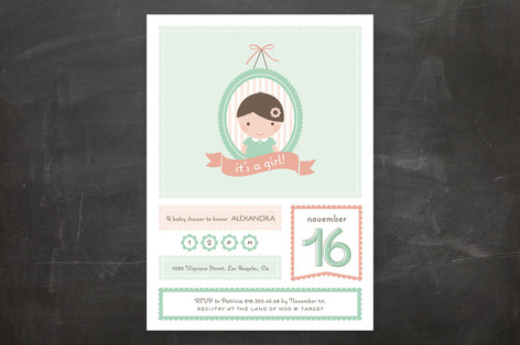 Lovely Portrait Baby Shower Invitations